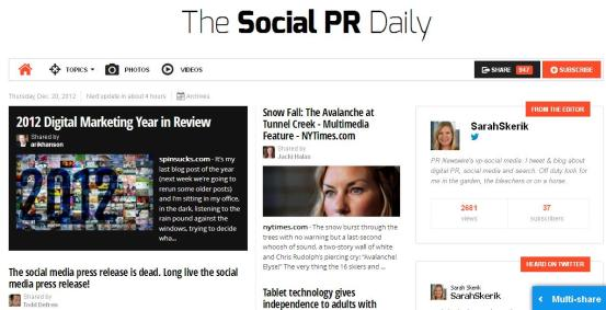 The Social PR Daily, a paper I created, had been shared almost 1000 times.