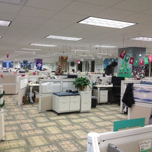 PR Newswire's Cleveland operations center, in all its holiday carnage - uh, glory.