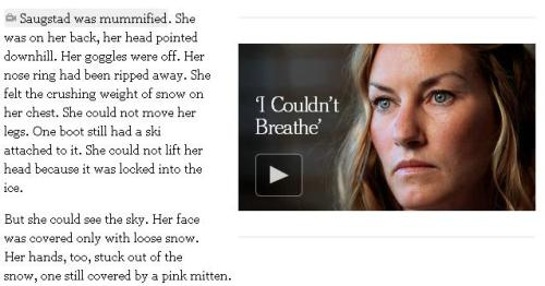 "A snippet from the NYT story ""Snow Fall.""  Click the image to access the entire experience."