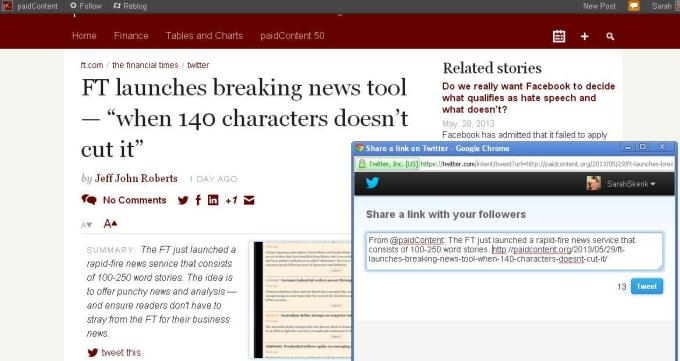 A news summary on the PaidContent.org site grabs attention and creates a perfect tweet.