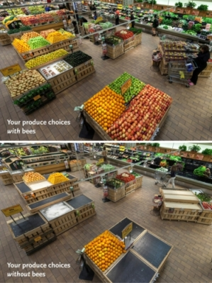 Whole Foods Market University Heights' produce department with and without items dependent on pollinator populations. (PRNewsFoto/Whole Foods Market)