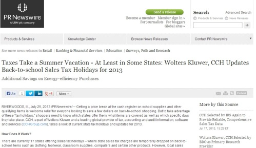 This smart press release from CCH includes a state-by-state list of tax holidays, making it relevant both in terms of timing and geography.  (Click the image to see the whole story.)