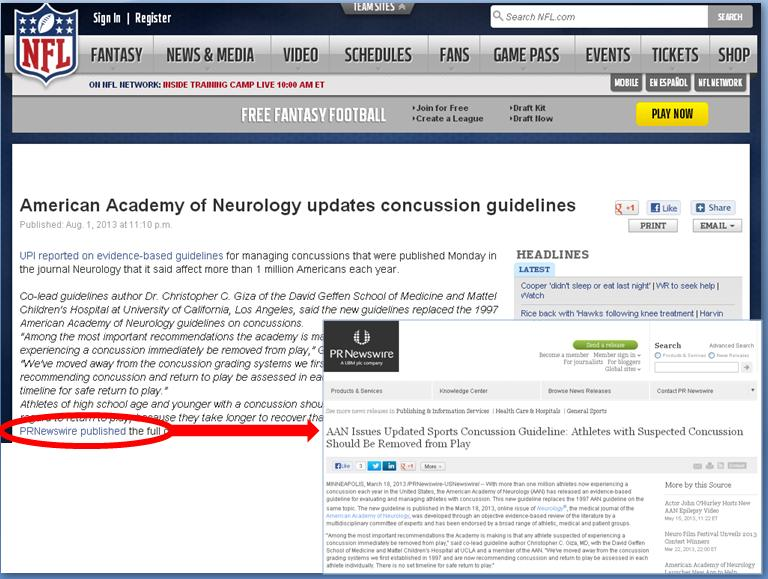 Yesterday's mention of the AAN press release on the NFL.com site.