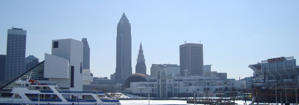 Cleveland's lakefront, home to the Rock and Roll Hall of Fame, Goodtime III, Great Lakes Science Center, and FirstEnergy Stadium