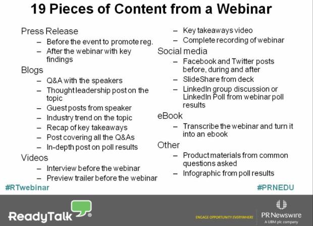 The 19 pieces of content you can wrest from a webinar, courtesy of Readytalk's Bo Bandy.