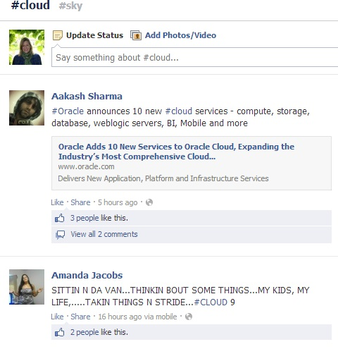 The #cloud hashtag on Facebook yields a mix of results.