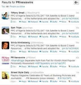 Real time tweets of PR Newswire press releases.