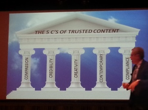 "Greg Matusky discusses the ""5 C's of Trusted Content"" at BDI's Future of Financial Services Communications event"
