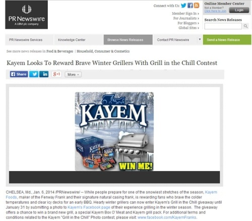Kayem Foods' press release promotes a contest, and offers great cold weather grilling advice.