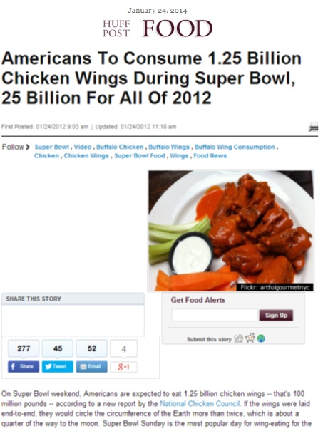 Coverage on the Huffington Post links back to the National Chicken Council's website
