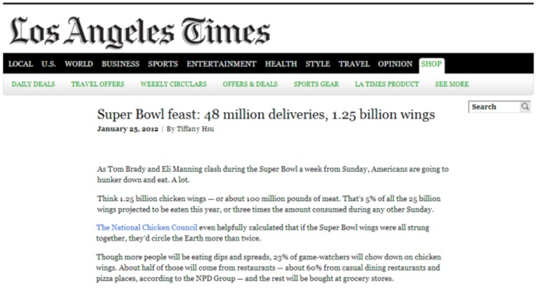 Los Angeles Times Chicken Wings