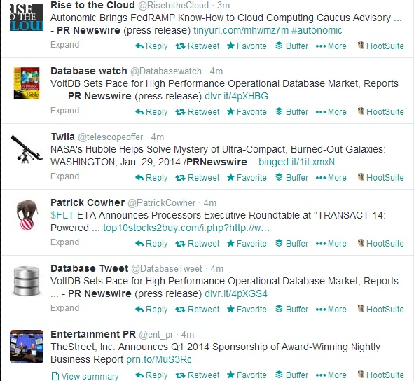 One minutes' worth of tweets of PR Newswire press releases.  Click the image to see the live Twitter feed.