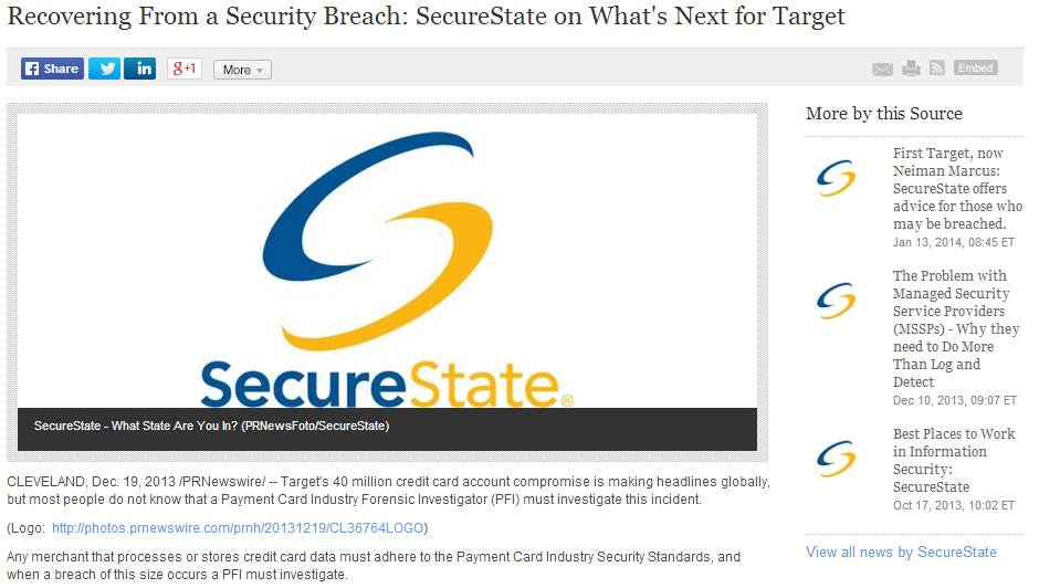 The press releases SecureState has issued to  promote company content are now the second-largest source of web site traffic for the company, behind search engines.