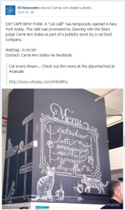 FB Newswire post about Purina One's Cat Cafe.