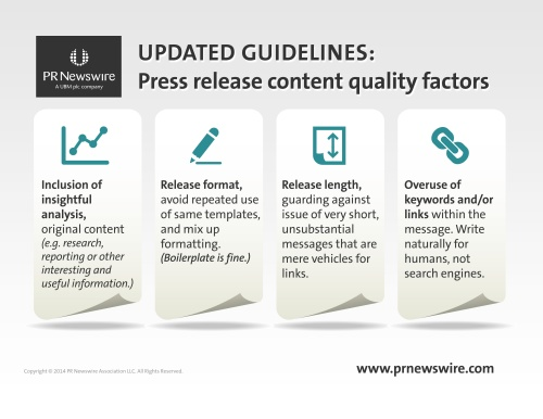 New copy quality guidelines from PR Newswire to help improve press release content quality.