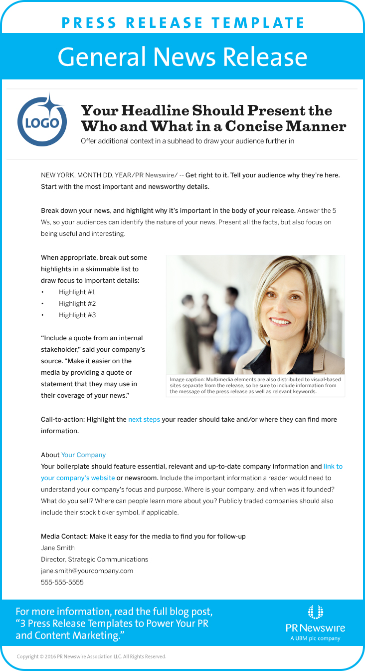 Blog – Press Release Template Sample